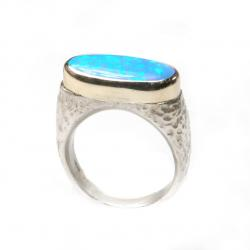 Bicolor Ring mit synthetischem Opal