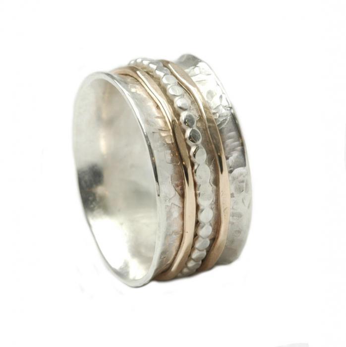 Bicolor Ring mit drehbaren Schienen aus 925er Silber und 333er Gold