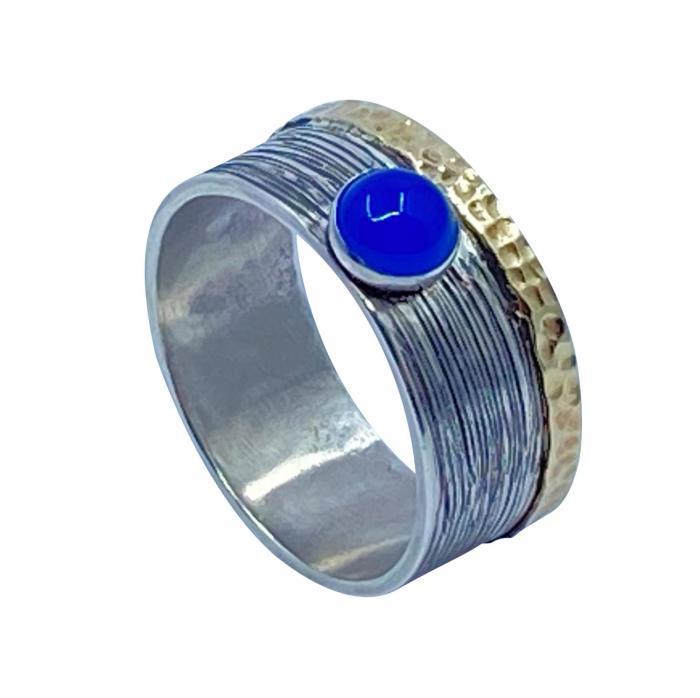 Blauer Achat Ring 925er Silber mit Umrandung aus 333er Gold