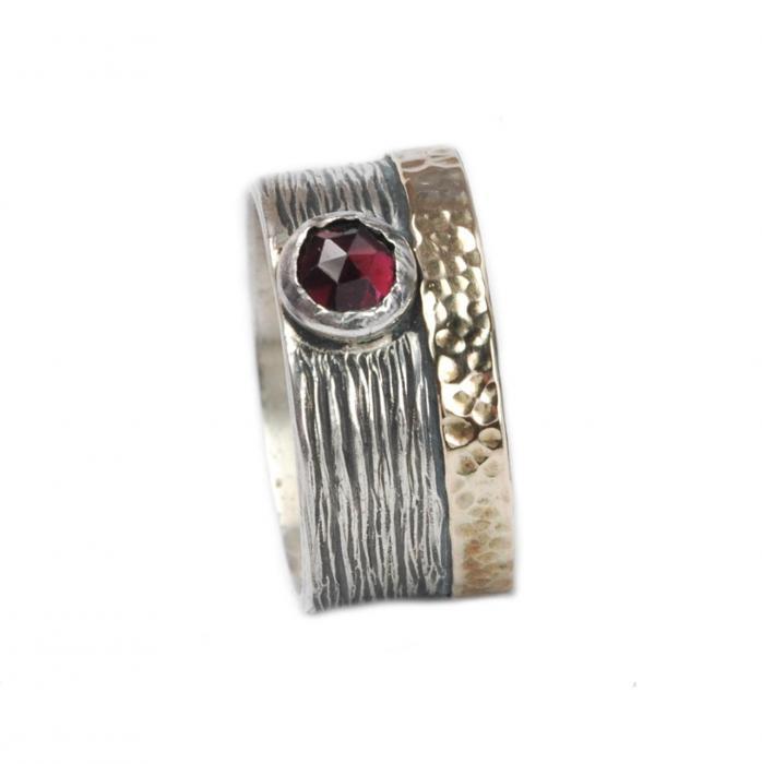 Breiter Granat Ring aus 925 Silber mit 333 Gold