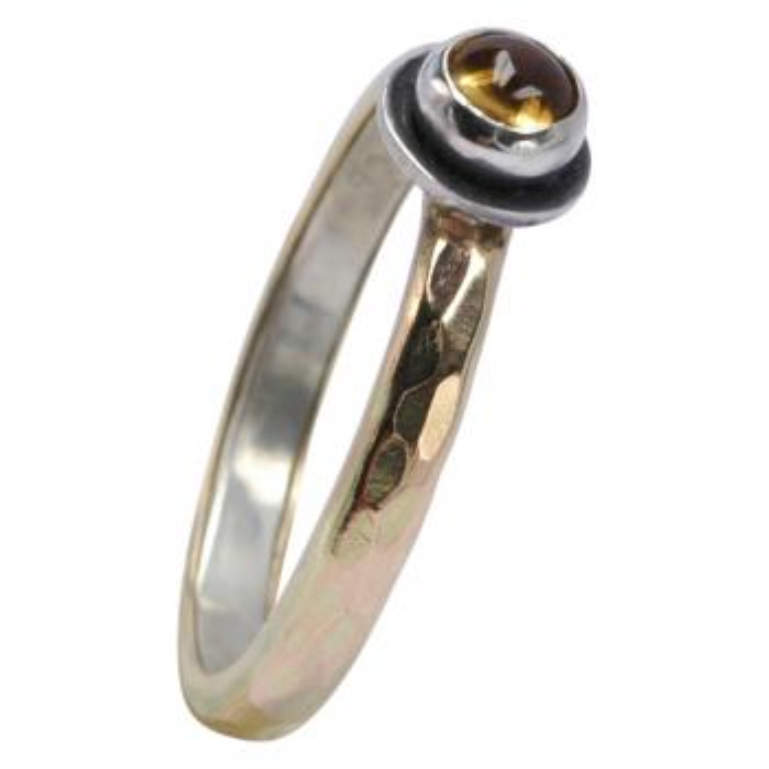 Bicolor Citrin Ring aus 925er Silber und 375er Gold