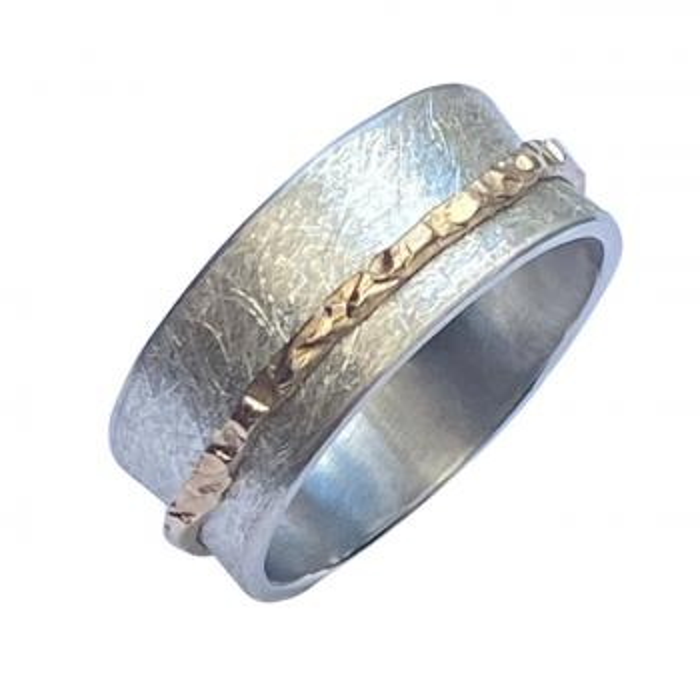 Matter Silberring Drehring mit  Gold