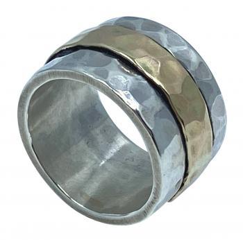 Breiter Bicolor Drehring 925 Silber und 333 Gold