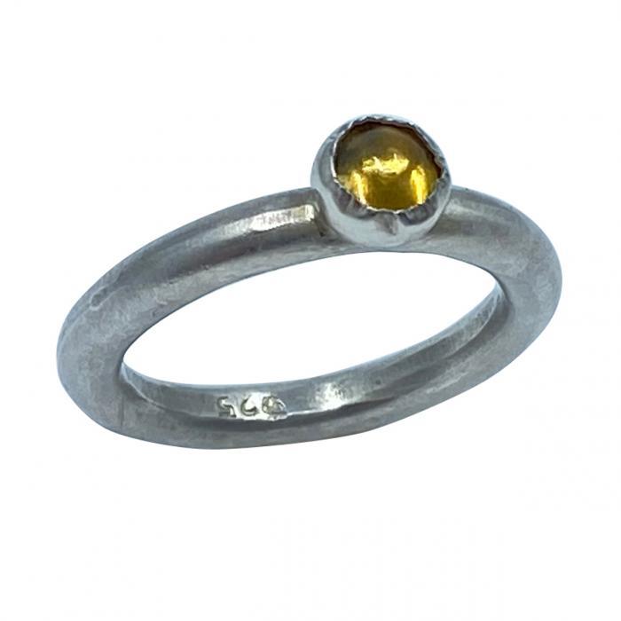 Dezenter Citrin Ring aus 925er Silber