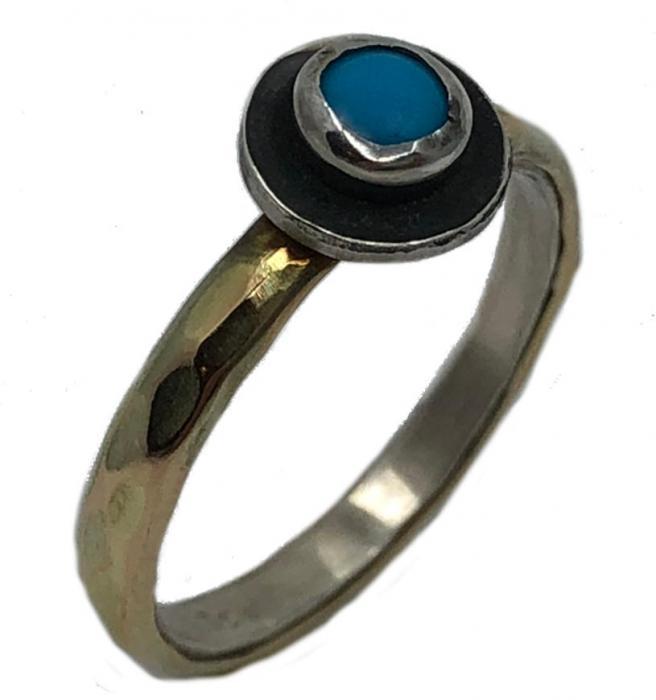 Bicolor Türkis Ring aus 925er Silber und 375er Gold