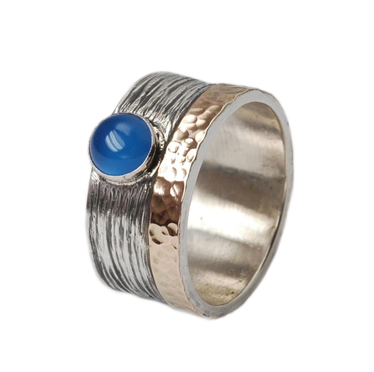 Blauer Achat Ring 925er Silber 375er Gold Tiljon