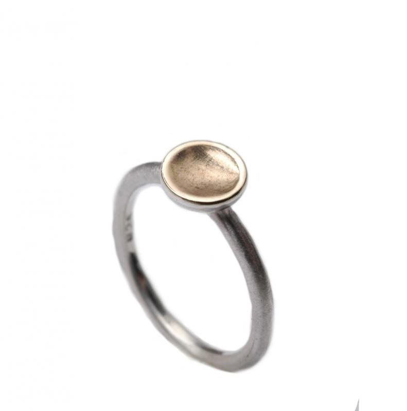 Bicolor Silberring mit 375 Gold