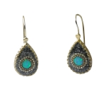 Gray Silver Earrings with Synthetic Opal