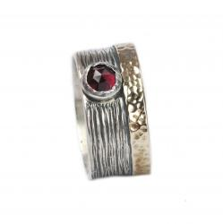 Asymmetric Bicolor Ring Sterling Silver and 375 Gold with Garnet Stone
