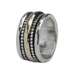 Breiter massiver Ring 925er Silber and 375 Gold