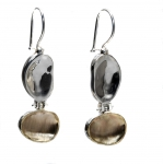 925 Silver Earrings with 9K Gold special Brushed