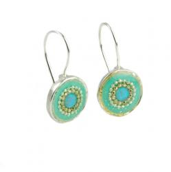 Green Earrings with Synthetic Opal