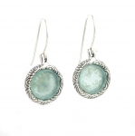 Round Sterling Silver Earrings with Roman Glass
