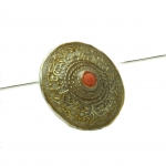 Coral Sterling Silver Pendant with Gilded Ornamentation