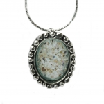 Oval Silver Pendant with Roman Glass