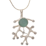 Roman Glass Pendant with Branches and Zirconia